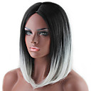 cheap Synthetic Capless Wigs-popular lady cosplay black and grey ombre color middle synthetic hair
