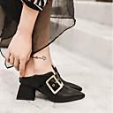 זול קבקבים לנשים-בגדי ריקוד נשים נעליים עור אביב / סתיו נוחות עקבים עקב עבה בוהן מחודדת אבזם שחור / אדום