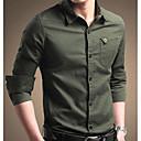 זול נברשות-אחיד כותנה, חולצה - בגדי ריקוד גברים / שרוול ארוך