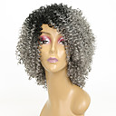 cheap Tape in Hair Extensions-Synthetic Wig Kinky Curly Gray Synthetic Hair African American Wig Gray Wig 8-11inch Capless Grey