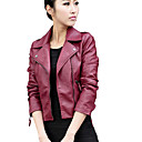 cheap Card Games & Poker-Women's Work / Going out Punk & Gothic / Street chic Leather Jacket - Solid Colored Shirt Collar