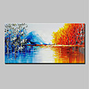 cheap Abstract Paintings-Oil Painting Hand Painted - Abstract / Landscape Modern Stretched Canvas