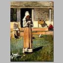 זול ציורי שמן-ציור שמן צבוע-Hang מצויר ביד - מפורסם מסורתי בַּד