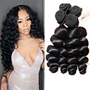 cheap Hair Braids-4 Bundles Brazilian Hair Loose Wave Human Hair Natural Color Hair Weaves 8-28 inch Human Hair Weaves 8a Human Hair Extensions Women's