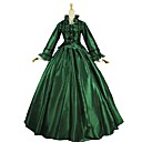cheap Historical & Vintage Costumes-Vintage Rococo Costume Women's Outfits Green and Black Vintage Cosplay Satin Long Sleeve Puff / Balloon Sleeve