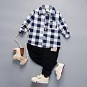 זול ג'קטים ומעילים לבנים-סט של בגדים כותנה שרוול ארוך דפוס אחיד / משובץ דמקה / סרוג ליציאה בסיסי בנים פעוטות / חמוד