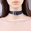 お買い得  チョーカーネックレス-女性用 S型 チョーカー  -  レザー ロック, ファッション ブラック ネックレス 用途 日常, デート