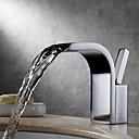 tanie Obrazy olejne-Bateria do umywalki łazienkowej - Wodospad / Powszechny Chrom Montowanie na krawędzi Jeden uchwyt Jeden otwór