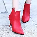 זול מגפי נשים-בגדי ריקוד נשים נעליים PU אביב סתיו מגפיים אופנתיים נוחות מגפיים עקב סטילטו מגפונים\מגף קרסול ל קזו'אל שחור אדום