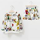 tanie Zestawy ubrań dla dziewczynek-Brzdąc Dla dziewczynek Prosty Codzienny Nadruk Styl nowoczesny Długi rękaw Poliester Komplet odzieży Biały 130