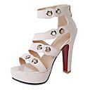 ieftine Sandale de Damă-Pentru femei PU Primăvară / Vară Confortabili / Noutăți Sandale Toc Îndesat Vârf deschis Ținte Negru / Galben / Culoarea pielii / Party & Seară