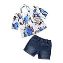 זול סטים של ביגוד לבנות-סט של בגדים כותנה פוליאסטר קיץ שרוולים קצרים יומי ליציאה פרחוני דפוס בנות יום יומי פול