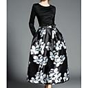 זול מפיגי מתח-בגדי ריקוד נשים בסיסי מכנסיים - פרחוני שחור / מקסי
