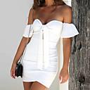 זול מחזיקים ומרכבים-בגדי ריקוד נשים בסיסי רזה מכנסיים - צבע אחיד לבן שחור / סטרפלס / סירה מתחת לכתפיים / ליציאה / סירה מתחת לכתפיים / סופר סקסי