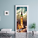 cheap Wall Stickers-Famous Scenic Wall Stickers Plane Wall Stickers 3D Wall Stickers Decorative Wall Stickers Door Stickers, Vinyl Paper Home Decoration Wall