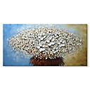 olcso Férfi gyűrűk-Hang festett olajfestmény Kézzel festett - Absztrakt Virágos / Botanikus Kortárs Modern Vászon