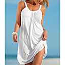 cheap Wedding Shoes-Women's Beach Basic Shift Dress - Solid Colored White Mini Strap / Summer