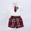tanie Zestawy ubrań dla dziewczynek-Brzdąc Dla chłopców Na co dzień Szkoła Pled Krótki rękaw Komplet odzieży