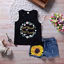 זול חולצות לבנות-סט של בגדים כותנה פוליאסטר אביב קיץ ללא שרוולים יומי חגים פרחוני דפוס טלאים בנות חמוד פעיל שחור