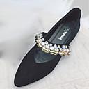 זול נעלי עקב לנשים-בגדי ריקוד נשים נעליים PU אביב נוחות שטוחות שטוח בוהן מחודדת ריינסטון שחור / חאקי