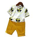 זול סטים של ביגוד לבנים-סט של בגדים כותנה פוליאסטר קיץ שרוולים קצרים יומי חגים אחיד דפוס בנים פשוט יום יומי צהוב