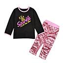 tanie Zestawy ubrań dla dziewczynek-Brzdąc Dla dziewczynek Aktywny Jendolity kolor Cekiny Długi rękaw Bawełna Komplet odzieży / Urocza