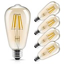 abordables Bombillas LED-5pcs 6W 560lm E26 / E27 Bombillas de Filamento LED ST64 6 Cuentas LED COB Decorativa Blanco Cálido 220-240V