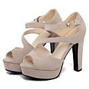 cheap Women's Heels-Women's Shoes Nubuck leather Spring / Summer Comfort / Novelty Sandals Chunky Heel Peep Toe Buckle Beige / Fuchsia / Almond