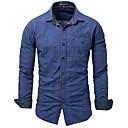 זול אביזרים לגברים-משובץ סגנון רחוב חולצה - בגדי ריקוד גברים / שרוול ארוך
