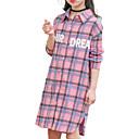 זול חולצות לבנות-בנות בסיסי כותנה מכנסיים - אחיד / דפוס / משובץ קפלים ורוד מסמיק 140 / ארוך