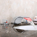 cheap Girls' Clothing Sets-Bathroom Sink Faucet - Waterfall LED Chrome Widespread Two Handles Three Holes