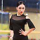 זול הלבשה לריקודים לטיניים-ריקוד לטיני חולצות בגדי ריקוד נשים הצגה כותנה צורני מפרק מפוצל חצי שרוול עליון