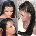 povoljno Perike s ljudskom kosom-Remy kosa Netretirana  ljudske kose Lace Front Perika stil Brazilska kosa Ravan kroj Crna Perika 130% Gustoća kose s dječjom kosom Najbolja kvaliteta Prirodna linija za kosu neprerađenih Izbijeljeni