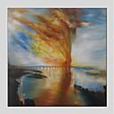 tanie Torby tote-Hang-Malowane obraz olejny Ręcznie malowane - Abstrakcja Nowoczesny Brezentowy / Rozciągnięte płótno