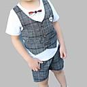 tanie Zestawy ubrań dla chłopców-Brzdąc Dla chłopców Aktywny Codzienny / Wyjściowe Kratka Krótki rękaw Regularny Regularny Bawełna Komplet odzieży Brązowy