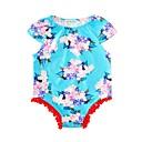 tanie Zestawy ubrań dla dziewczynek-Dziecko Dla dziewczynek Aktywny Codzienny / Święto Kwiaty Styl kwiatowy Krótkie rękawy Bawełna Body Niebieski 90