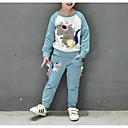 זול סטים של ביגוד לבנות-סט של בגדים כותנה פוליאסטר אביב יומי בנות יום יומי ורוד מסמיק כחול בהיר