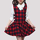 tanie Sukienki dla dziewczynek-Dzieci Dla dziewczynek Moda miejska Wyjściowe Kratka Długi rękaw Komplet odzieży