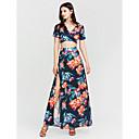 hesapli Moda Küpeler-Kadın's Bandaj Kılıf Elbise - Çiçekli V Yaka Maksi