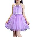 זול שמלות לבנות-שמלה ללא שרוולים חרוזים / Ruched / רשת אחיד / פרחוני חגים פעיל בנות ילדים / כותנה / חמוד