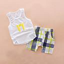 cheap Boys' Clothing Sets-Boys' Daily Holiday Print Clothing Set, Cotton Acrylic Spring Summer Sleeveless Cute Active Blue White Yellow