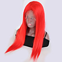 cheap Human Hair Wigs-Remy Human Hair Lace Front Wig Brazilian Hair Straight Red Wig 130% Density with Baby Hair Natural Hairline Bleached Knots Red Women's Short Long Human Hair Lace Wig Guanyuwigs