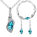 זול סטים של תכשיטים-בגדי ריקוד נשים קלאסי סט תכשיטים - טיפה אופנתי, אלגנטית לִכלוֹל סטי תכשיטי כלה כחול עבור Party יום הולדת
