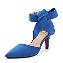 olcso Női magassarkú cipők-Női Cipő Pihe Tavasz / Nyár Kényelmes Magassarkúak Tűsarok Erősített lábujj Csokor Fekete / Piros / Kék / Party és Estélyi