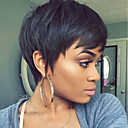 cheap Human Hair Capless Wigs-Human Hair Capless Wigs Human Hair Straight Pixie Cut Natural Hairline Nature Black Machine Made Wig Women's