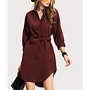 baratos Sombras-Mulheres Moda de Rua Delgado Bainha Vestido - Laço, Sólido Colarinho de Camisa Assimétrico