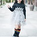 זול שמלות לבנות-שמלה כותנה פולי אביב סתיו שרוול ארוך יומי ליציאה אחיד פרחוני דפוס הילדה של פשוט חמוד פעיל שחור