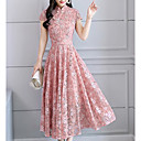 cheap Backpacks-Women's Going out Swing Dress - Floral Dusty Rose, Print Stand Summer Black Blushing Pink Light gray XL XXL XXXL