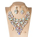 cheap Modern Shoes-Cubic Zirconia Jewelry Set - Drop, Flower Classic, Vintage, Elegant Include Drop Earrings / Choker Necklace / Bridal Jewelry Sets Red / Green / Blue For Wedding / Party / Engagement