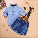 cheap Baby Boys' Clothing Sets-Boys' Daily Holiday Striped Plaid Clothing Set, Cotton Summer Short Sleeves Light Blue